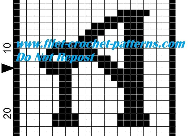 Alphabet letter A filet crochet pattern