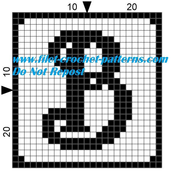 Alphabet letter B filet crochet pattern