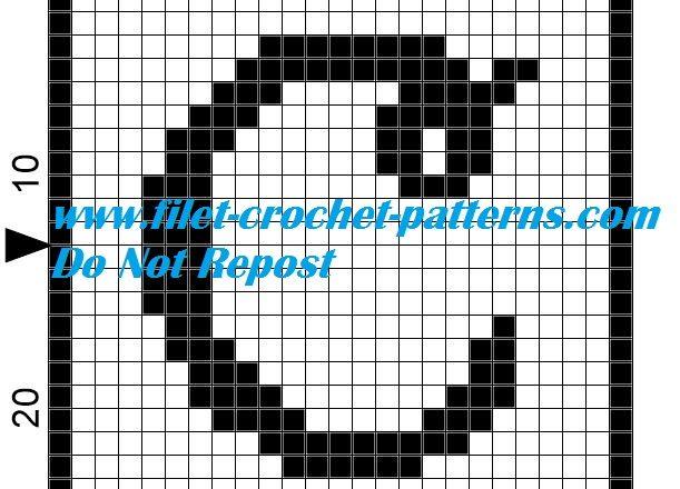 Alphabet letter C filet crochet pattern