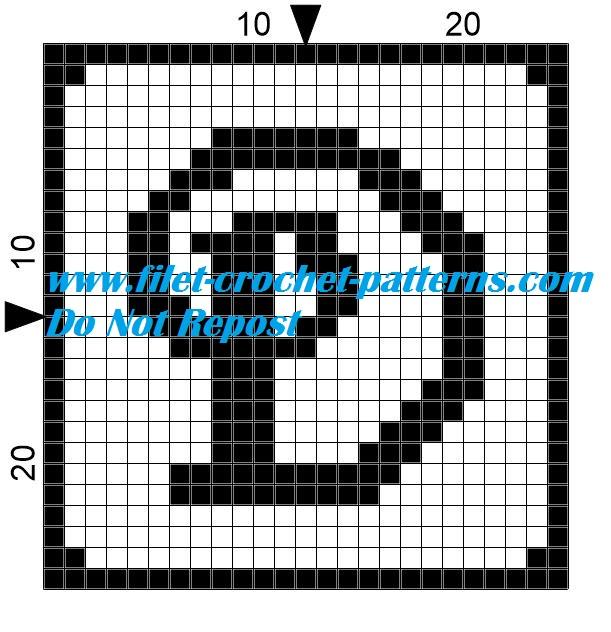 Alphabet letter D filet crochet pattern