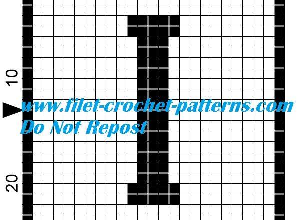 Alphabet letter I filet crochet pattern