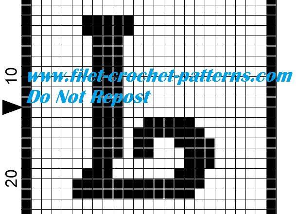 Alphabet letter L filet crochet pattern