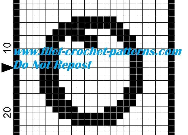 Alphabet letter O filet crochet pattern