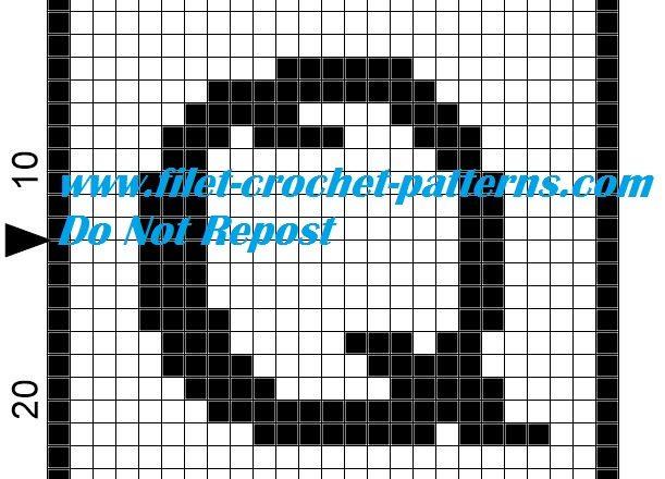 Alphabet letter Q filet crochet pattern