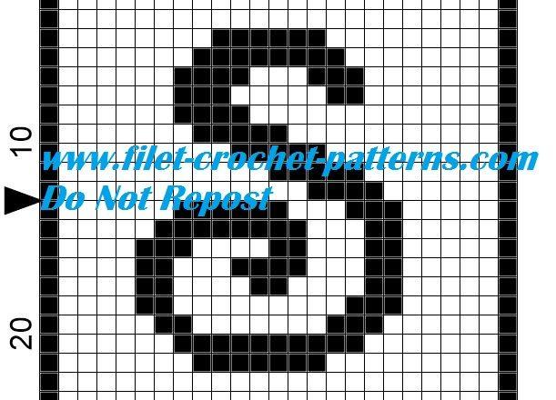 Alphabet letter S filet crochet pattern
