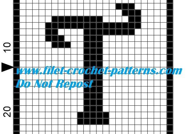 Alphabet letter T filet crochet pattern