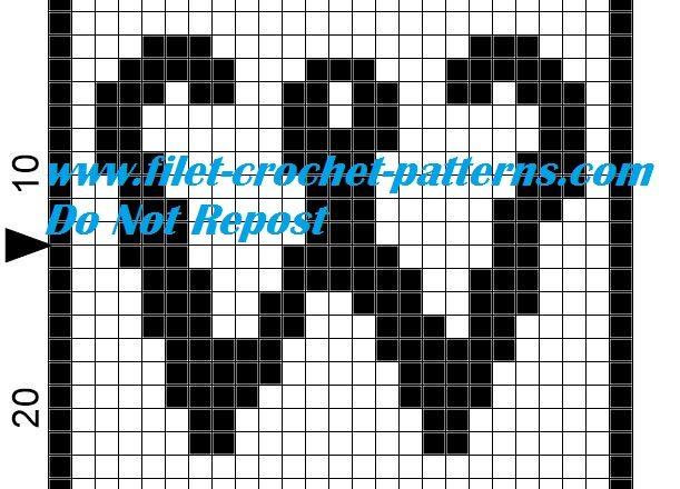 Alphabet letter W filet crochet pattern