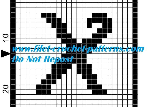 Alphabet letter X filet crochet pattern