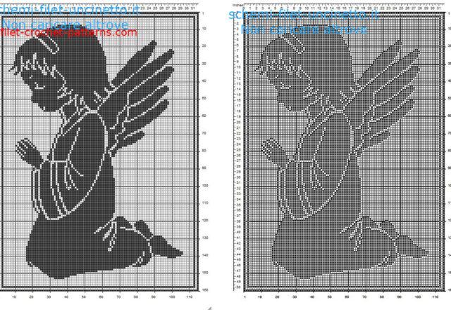 Angel praying free filet crochet pattern 110 x 160 squares