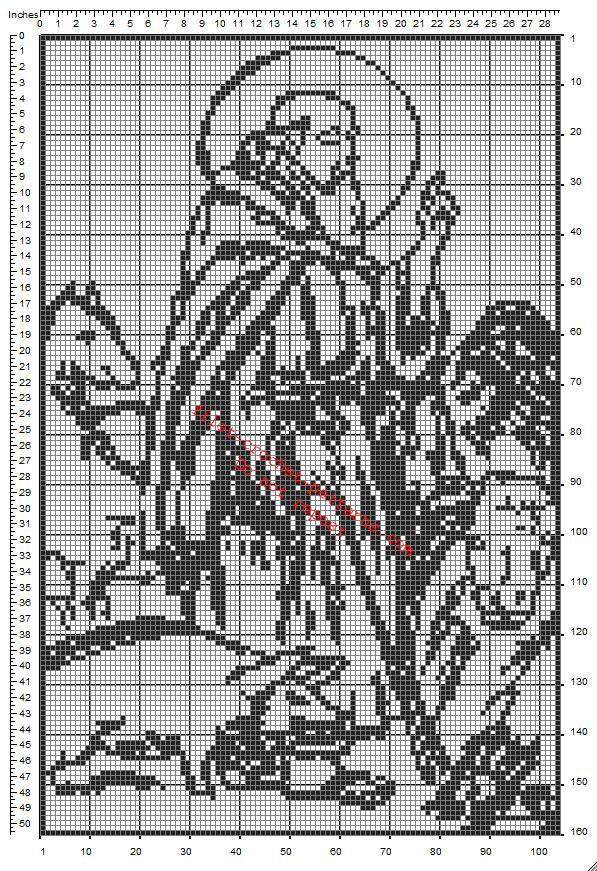 Anthony The Great free crochet filet pattern download frame ideal