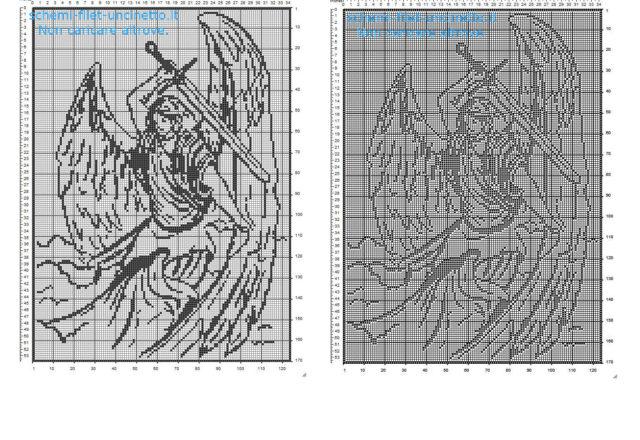 Archangel Michael free filet crochet pattern home painting idea