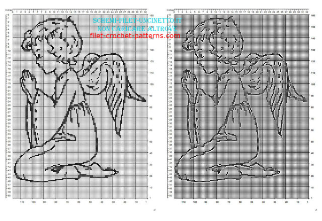 Baby Angel with wings praying free filet crochet pattern download