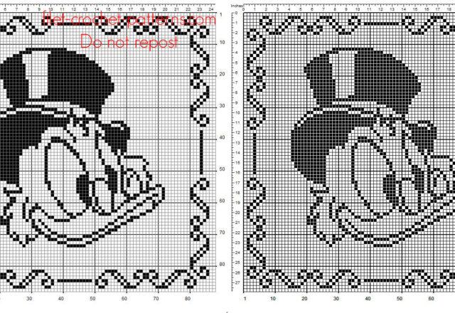 Baby Pillow with Disney Scrooge McDuck free crochet filet pattern