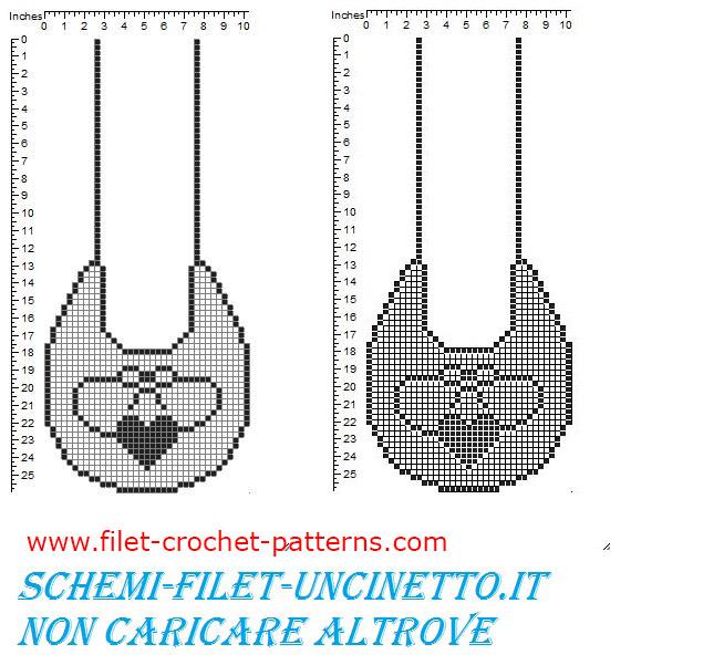 Baby bib heart and bow free filet crochet pattern