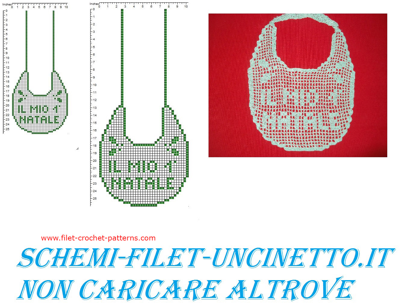 Baby bib my first Christmas free filet crochet pattern