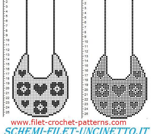 Baby bib small hearts and flowers free filet crochet pattern