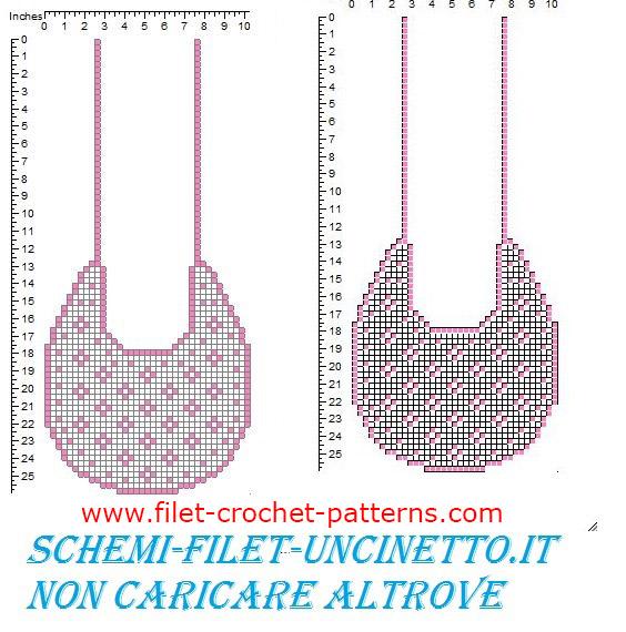 Baby bib with small flowers free filet crochet pattern