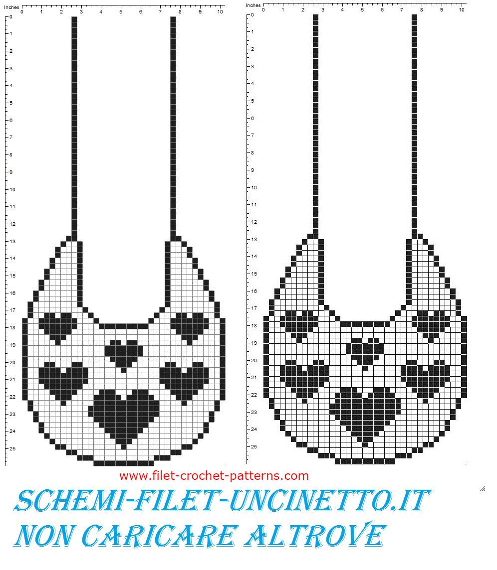 Baby bib with small hearts free filet crochet pattern