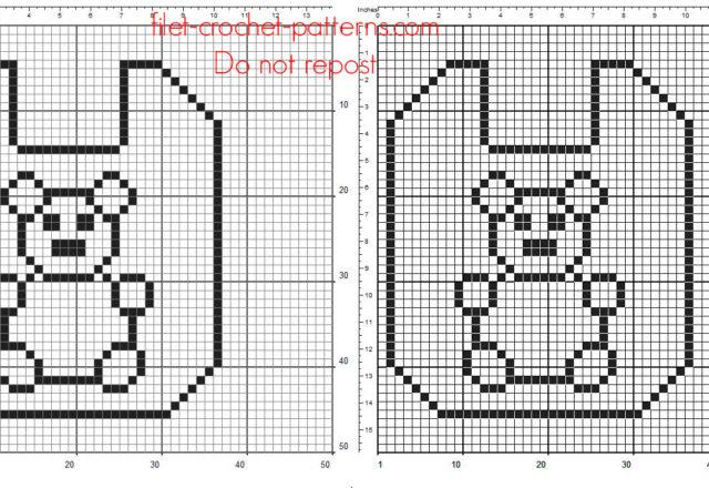 Baby bib with teddy bear free crochet filet pattern download