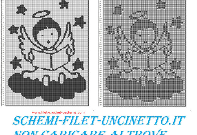 Baby blanket angel singing on the cloud free filet crochet pattern