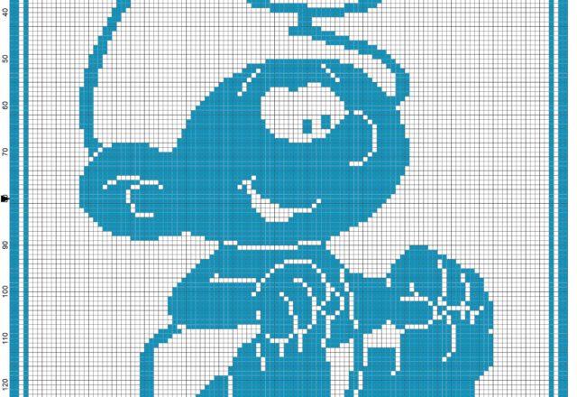 Baby blanket baby Smurf filet crochet pattern