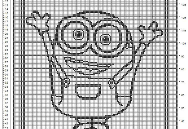 Baby blanket crochet filet free pattern with Minion Bob from Minions