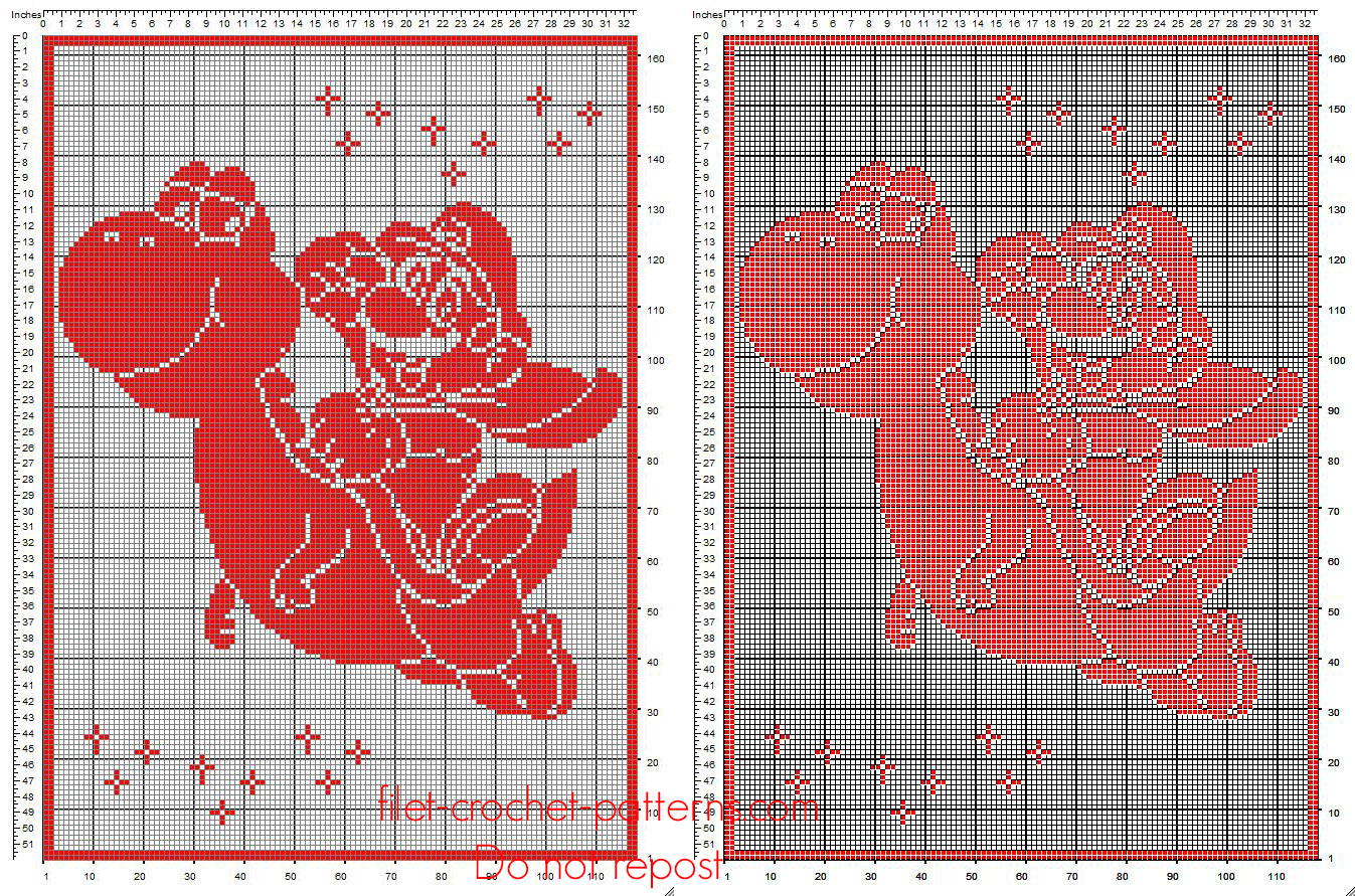 Baby blanket filet crochet with Super Mario Bros red color free pattern download