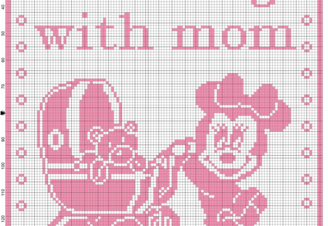 Baby blanket minnie Walking with mom filet crochet pattern