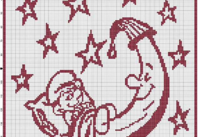 Baby blanket with Baby Smurf on the moon filet crochet pattern