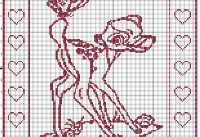 Baby blanket with Bambi filet uncinetto pattern