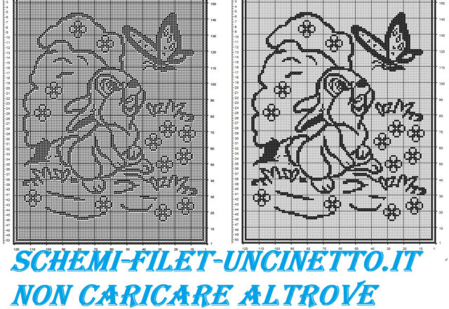 Baby blanket with Disney Thumper free filet crochet