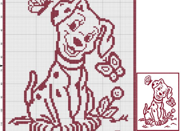 Baby blanket with dog 101 Dalmatians filet crochet parrern