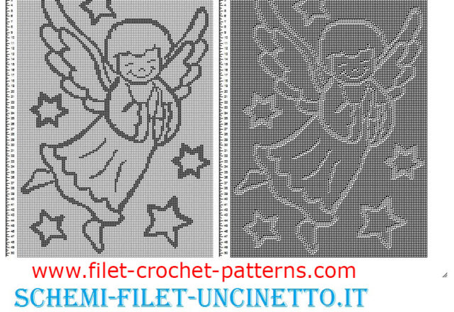 Baby blanket with happy angel free filet crochet pattern
