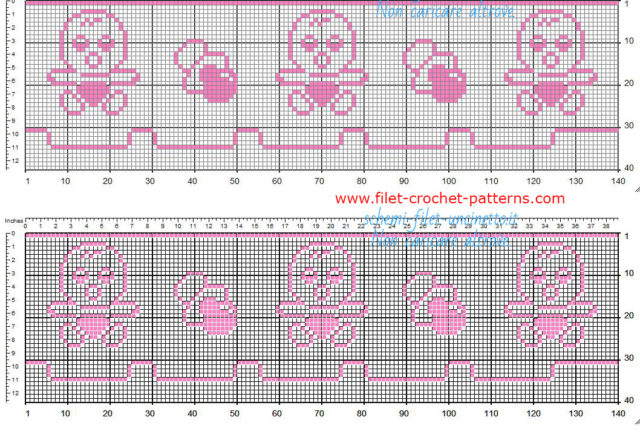 Baby border free filet crochet pink color with baby and pacifier free download 35 squares