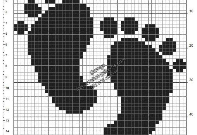 Baby footprints free crochet filet pattern birth ideal black 50x50
