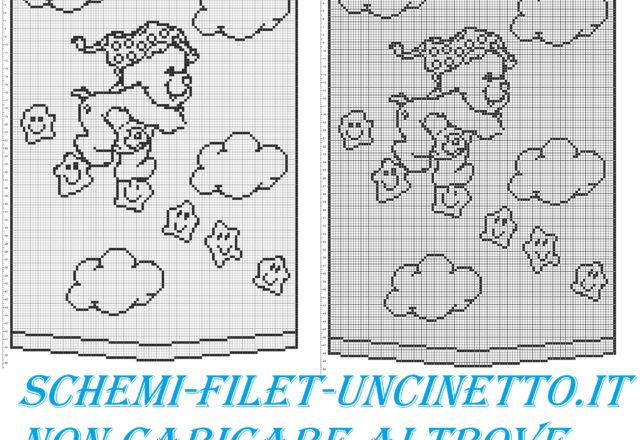 Bear walking on stars free filet crochet pattern curtains