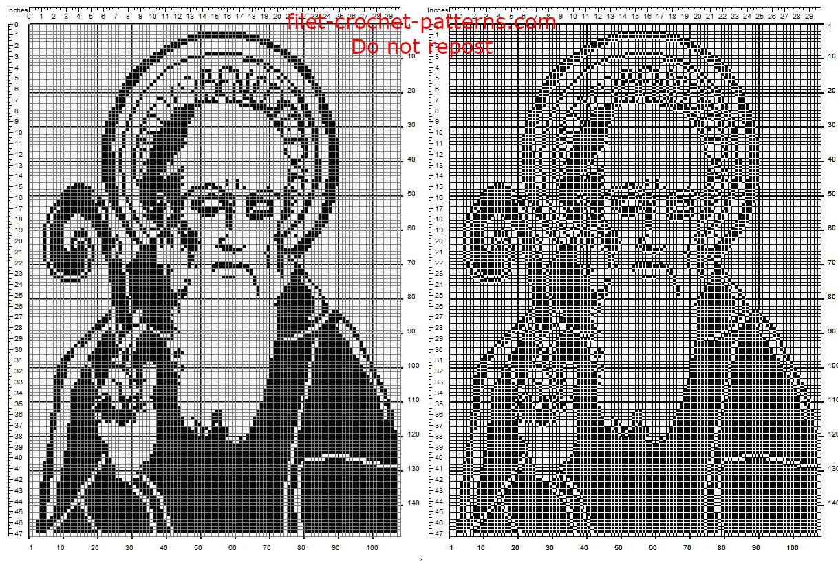Benedict of Nursia free pattern crochet filet