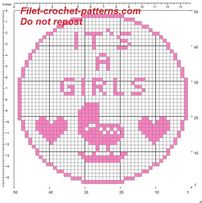 Birth bow it is a girl filet crochet pattern