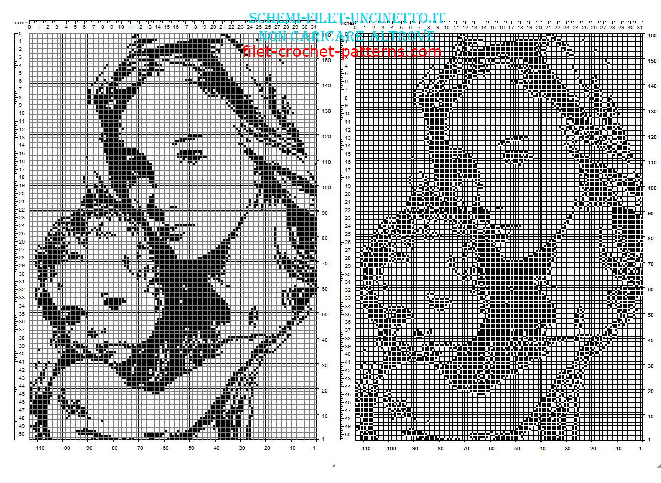 Blessed Virgin Mary and child free filet crochet pattern 160 x 110 squares