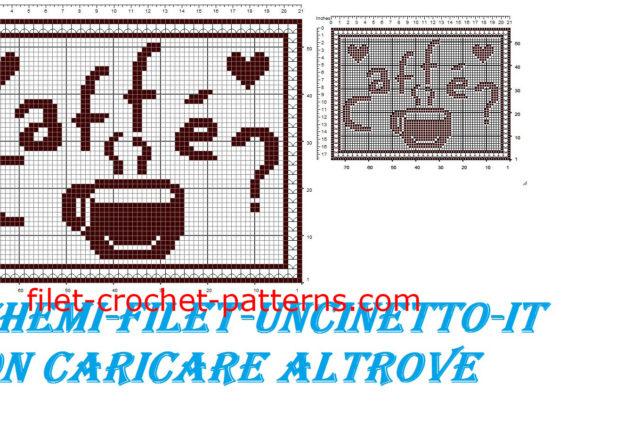 Breakfast placemat coffee free filet crochet pattern