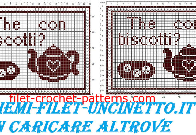 Breakfast placemat tea with biscuits free filet crochet pattern