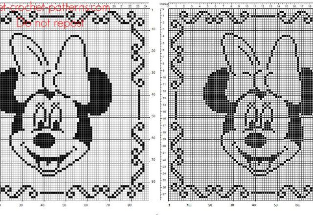 Children pillow crochet filet with Disney Minnie face free pattern download