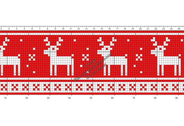 Christmas border with reindeer free crochet filet design pattern height 30
