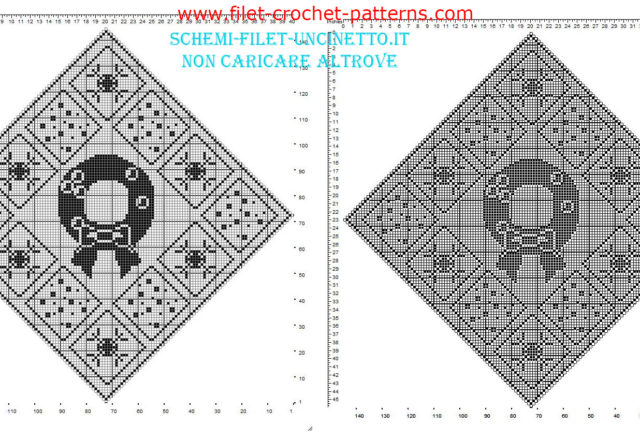 Christmas filet placemat diamond shaped with garland and snowflakes