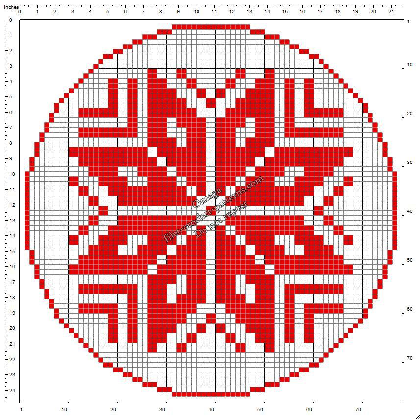Christmas round doily with poinsettia free crochet filet pattern 76x76
