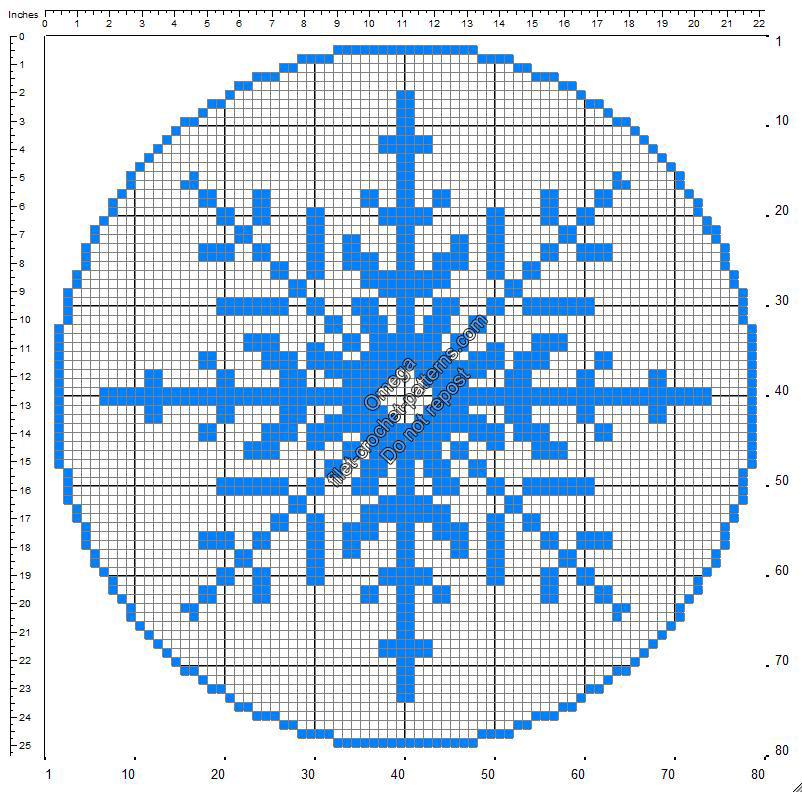 Christmas snowflake round doily free crochet filet patterns 78x78