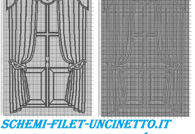 Classic curtains with windows free filet crochet pattern