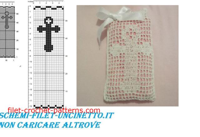 Communion cross favor bag free filet crochet pattern download