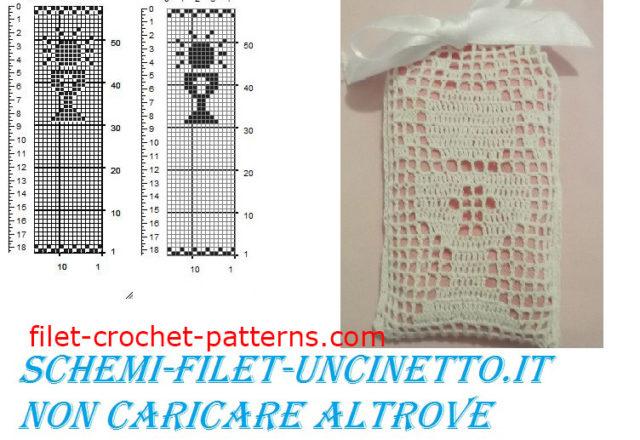 Communion cup favor bag filet crochet pattern