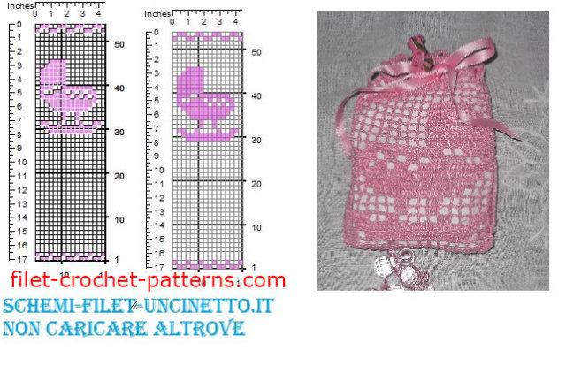 Cradle crib favor bag free filet crochet pattern